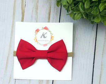 Red bow nylon headband, red bows, baby girl headband, red hair bow, nylon headbands, baby hair bows, red fabric bow, baby hair clips, bows