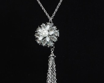 """Tassel necklace with glass flower pendent  you select length 28""""to 40"""" long chain necklace,  Stainless steel chain tassel necklace , unique"""