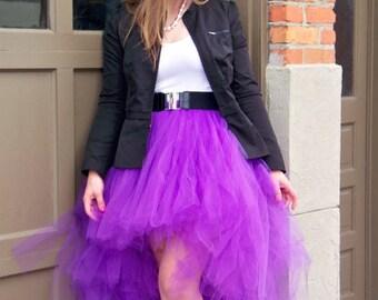 High Low Tulle Skirt Purple Short To Long Womens Tutu Bridesmaids Hi