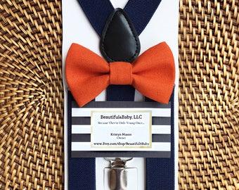 Orange Bow Tie, Navy Suspenders, Orange Baby Boy Bow Tie, Orange Toddler Bow Tie- Orange Bow Tie & Navy Suspender Set- 6 Months to 5 Yrs Old