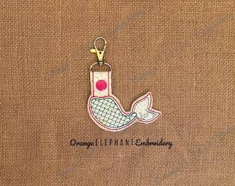Mermaid Tail Snap Tab Key Fob ITH Unique Urban Machine Embroidery Design digital File