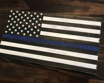 Mini Thin Blue Line Wood Flag