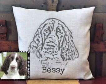 Custom pet photo pillow, Springer Spaniel Pillow, Dog Pillow, Custom Pillow, Personalized Pet Pillow, Pet Pillow, pet memorial, gift for dog