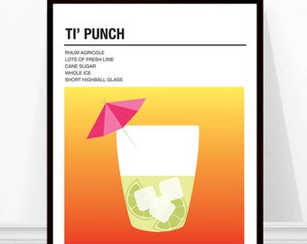Ti' Punch Print, Vintage Cocktail Print, Cocktail Recipe Art, Alcohol Print, Ti' Punch Cocktail Recipe