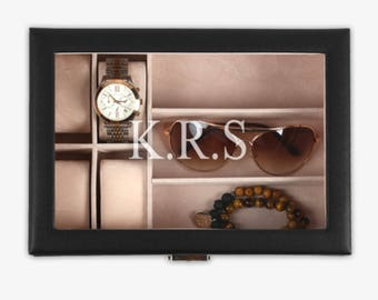 Personalized watch box leather watch box personalized watch case Personal watch display case Gifts for her Gifts for him