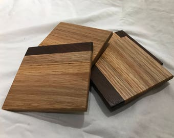 Handmade Solid Wood Coaster Set (4 coasters per set) ~ Wooden Drink Coasters ~ Walnut and Oak Drink Coasters ~ **FREE SHIPPING**