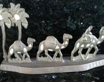 Brass and mother of pearl inlay  decorative camel souviner from United Arab Emirates