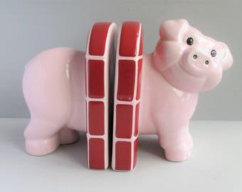Vintage Carlton Ware Pig Bookends, Pink Piggy, Brick Wall, Nursery Decor, Kitsch, Ceramic, Pottery Pig, Home Decor, Storage, Book Ends