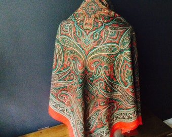 Square Paisley Scarf Laura Borghese Large Shawl Colorfull Folk Scarf