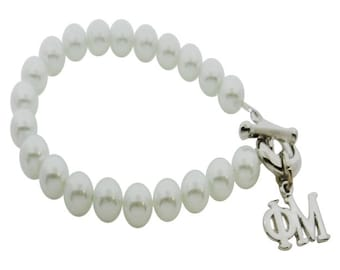 Phi Mu Pearl Sorority Bracelet Jewelry Toggle Bracelet