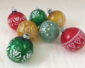 Shiny Brite Vintage Glass Ball Stencil Ornament Red Green Yellow Blue
