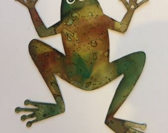 Hand Painted metal frog wall art