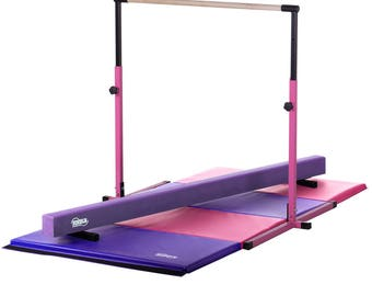 Pink - Purple - Little Gym Equipment Set - Gymnastics Kip Horizontal Bar, Low Gymnastics Balance Beam, 8ft Gymnastics Tumbling Mat