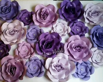 Purple Paper Flower Backdrop,20 Paper Flowers Set,Paper Flowers Wall Decor,Baby Shower Decoration,Paper Roses,Party,Wedding,Nursery Wall Art