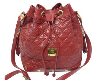 MCM Rare Vintage Red Quilted Leather Bucket Bag