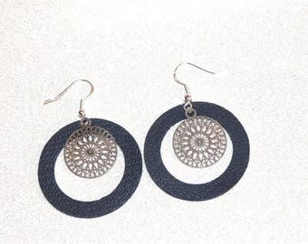 Earrings ' Silver 925/blue leather hoop clip, rose filigree and Star