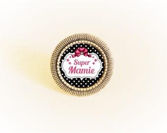 Ring silver adjustable cabochon black and pink polka dot message Super Grandma/MOM/aunt/godmother/sister
