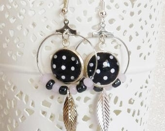 Earrings ' hoop 925 Sterling Silver earrings with black cabochon with polka dots, Pink Pearl powder and leaves
