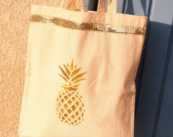 Tote bag/shopping bag, Golden pineapple and band of sequins, glitter gold, chic, reusable, eco-friendly