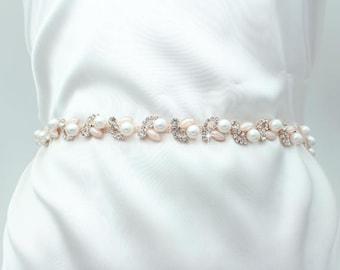 Thin Bridesmaid belt Wedding Dress Belt Bridal Belt Crystal Sash Pink Wedding Belt Pink Bridal Sash Rhinestone Skinny Bridal Sash Belt