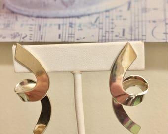 Fabulous Signed Mexican Sterling Silver Artisan Earrings, Taxco, 1970's Silver Estate Earrings.