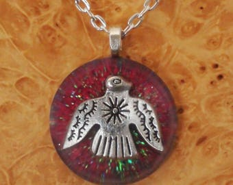 Orgone Energy Red Morningbird / Thunderbird Chakra-Tuning 27mm Unisex Pendant Necklace harmonizing crystals Moldavite