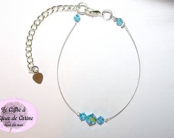 "Bracelet ""My small crystals"" blue - turquoise Swarovski wedding evening party ceremony Christmas birthday baptism gift"