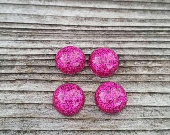 10mm Pink Glitter Resin Cabochon
