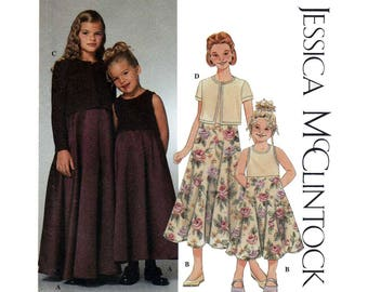 Girl's Long Dress and Cardigan Sewing Pattern Size 7, 8, 10, 12, 14 Jessica McClintock Uncut Simplicity 9018