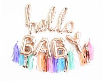 hello baby balloon banner - rose gold balloons with tassel garland