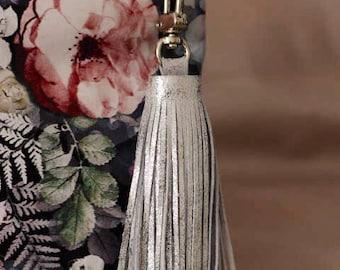 Silver Genuine Leather Tassel Keychain Handbag Ornament