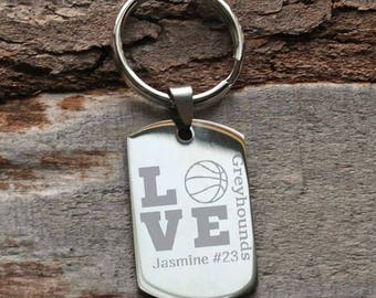 Basketball Team Player Personalized Key Chain - Engraved