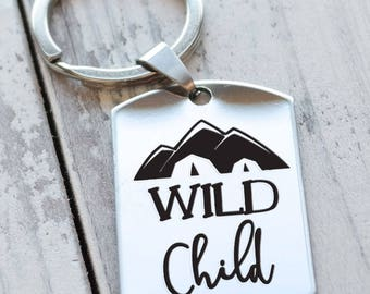Wild Child Personalized Key Chain - Engraved