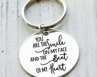 You are the Smile on my Face Personalized Key Chain - Engraved