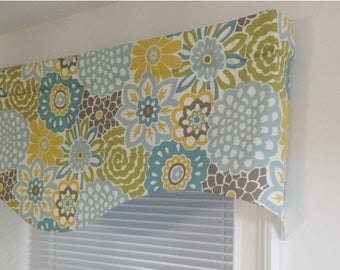Summer SALE Scalloped Valance 52 x 16 50x 16 lined window valance decorative valance Waverly Button Blooms Spa Grey Blue Yellow ivory Kitche
