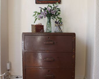 Vintage Industrial 3-Drawer Wooden Filing Cabinet
