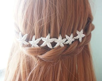 Starfish silver wedding hair pin, bridal hair pins, starfish wedding, starfish hair accessories, silver wedding hair pin, beach hair pins