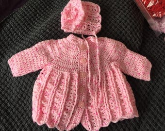 Newborn baby girl pink crochet cardie and hat also for reborn doll
