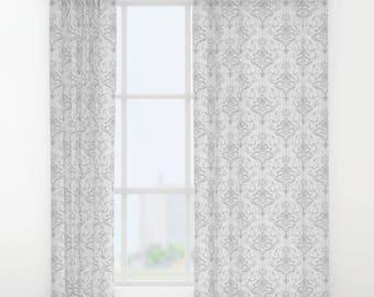 Gray damask curtains Etsy
