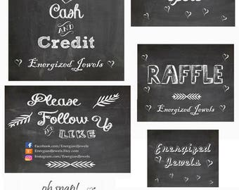 Chalkboard Business Signs, Printable Business Sign, Craft Show Signs, Vendor Event Signs, Please Follow and Like Us, Customized Signs