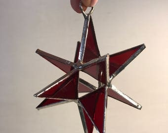 Stained Glass Red Star Suncatcher- Glass Art - Glass Ornament