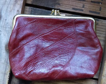 Vintage 70s Burgundy Patchwork Leather Clutch Coin Purse
