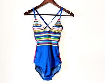 Vintage Mainstream Blue Striped Bathing Suit One Piece Size 10 Swimwear