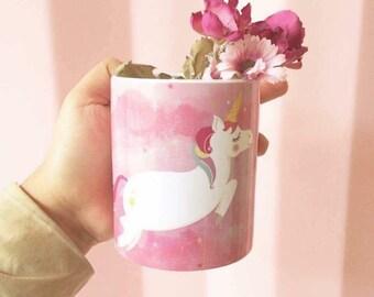 Kawaii unicorn glitter cup /Illustration by my self / cute mugs / Magic Mug