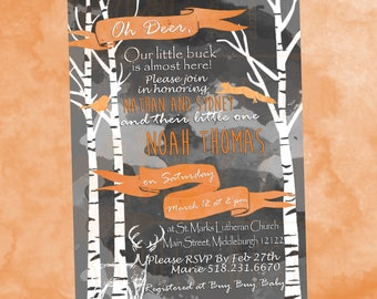 Camouflage Hunter Orange Oh Deer Woodland Quakie Baby Shower Invite with watercolor bird and squirrel