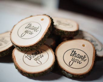 Rustic Wood Thank You Tag, Wedding Thank You Tags, Rustic wedding wine tags, Log Slice Gift Tags, Wedding Favor tag,Thank You Hang Tags,