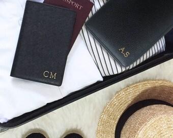 PERSONALISED MONOGRAMMED Black Saffiano Leather Passport Holder Travel Wallet - Custom Birthday Wedding Anniversary Gift Present