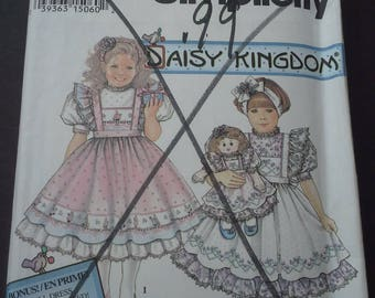 "Simplicity Daisy Kingdom 8877, 8877, Daisy Kingdom pattern, 22"" doll dress pattern, diy girls dress, diy girls pinafore, vintage pattern"