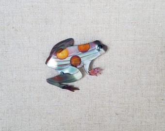 Flame painted copper Frog, pin