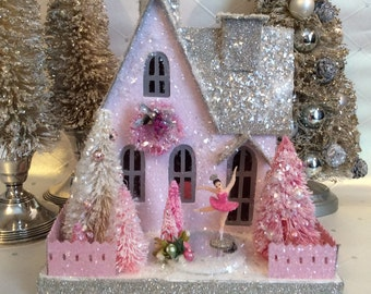 Putz Glitterhouse with Pink Figure Skater and bottlebrush trees